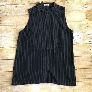 Equipment Femme Dark Grey Stripe Sleeveless Blouse
